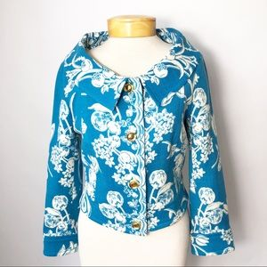 Tracy Reese Floral Cropped Blazer 100% Wool 10